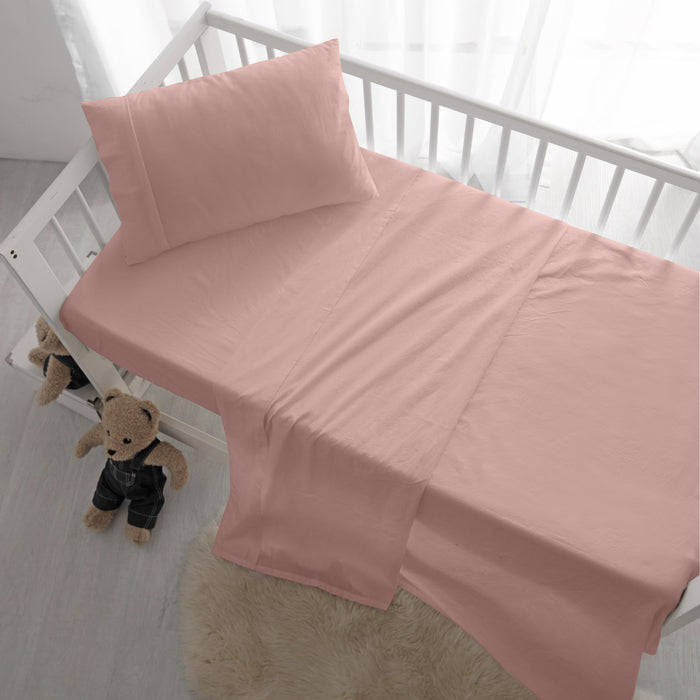 Stonewashed Cotton Sheet Set for Children's Cots (5 Colours)