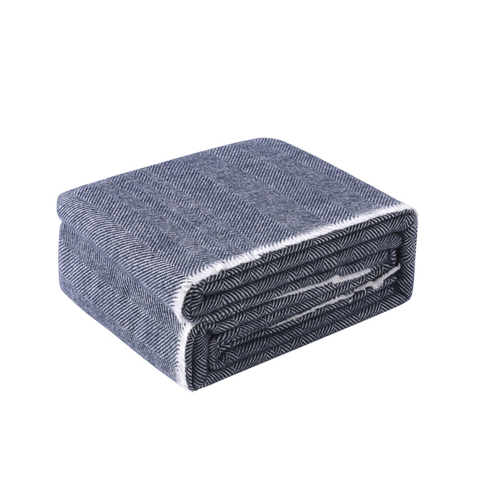 Herringbone 400 GSM Wool Blanket - Blue