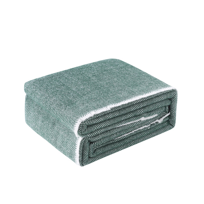Herringbone 400 GSM Wool Blanket - Green