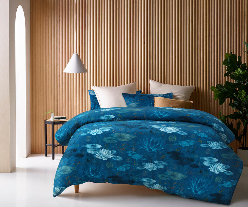 Digital Printed 100% Cotton Quilt Cover Set- Water Lily