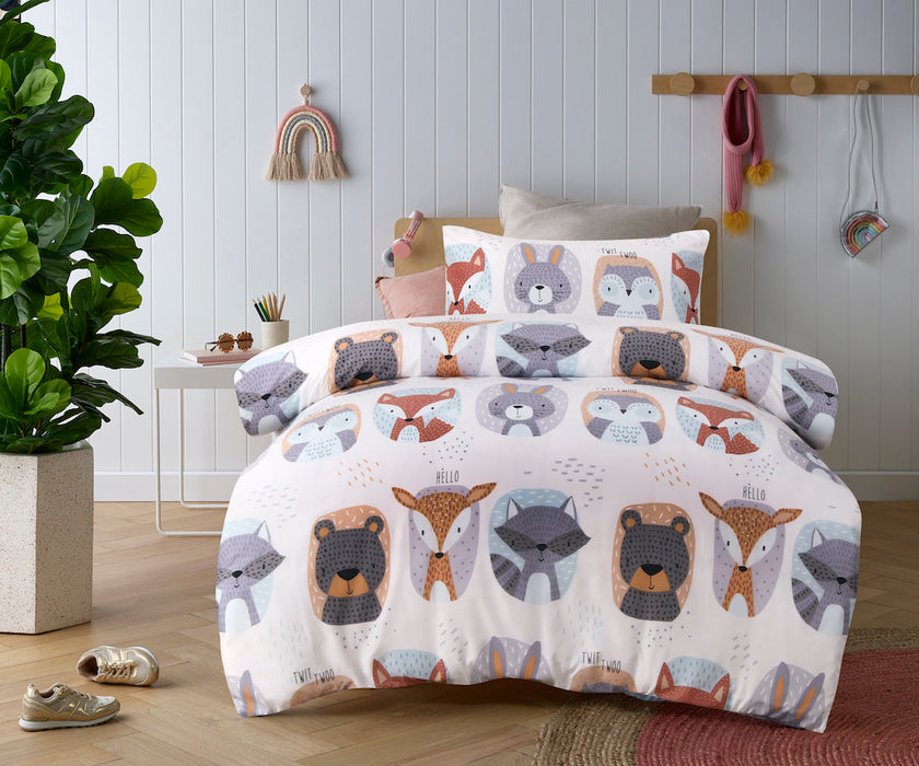 Happy Kids - Glow in the Dark Quilt Cover Set- Woodland