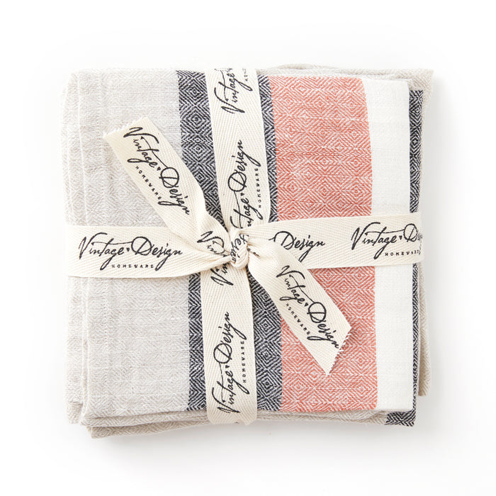 Diamond Jacquard 100% French Flax Linen- Set of 4 Tea Towels (available in 3 colours)