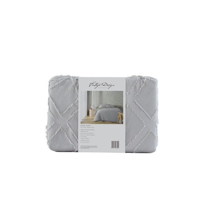 August 100% Cotton Chenille Quilt Cover Set - Dove Grey