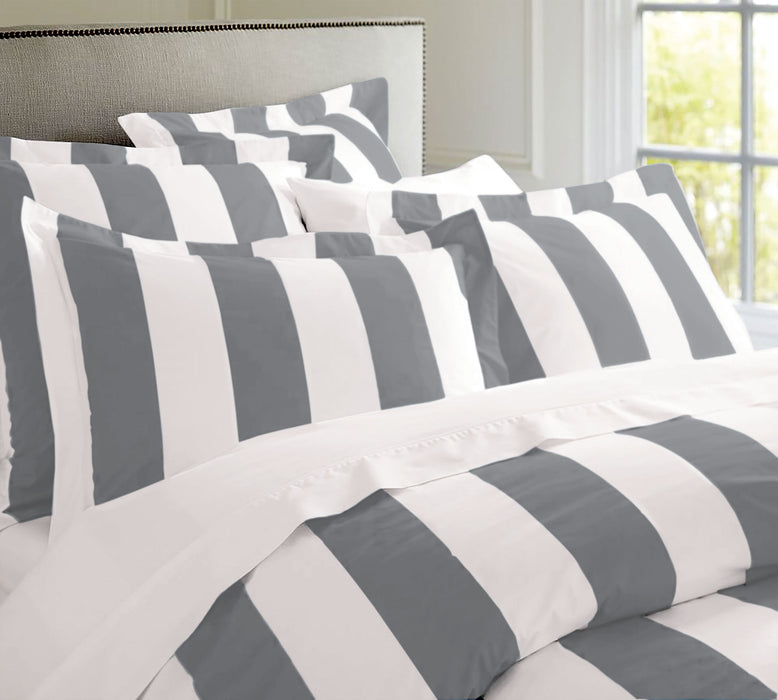 Egyptian Cotton Oxford Stripe Quilt Cover Set - Charcoal Stripe