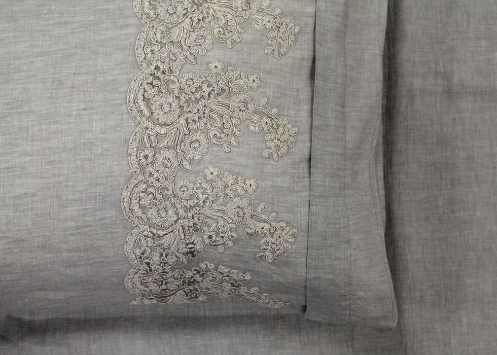 Antique Lace Embroidered 100% Linen Quilt Cover Set- Grey