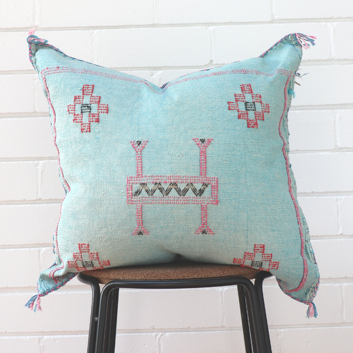 Moroccan Cactus Silk Feather Filled Cushion - Light Blue with Pink & Black Berber Motif