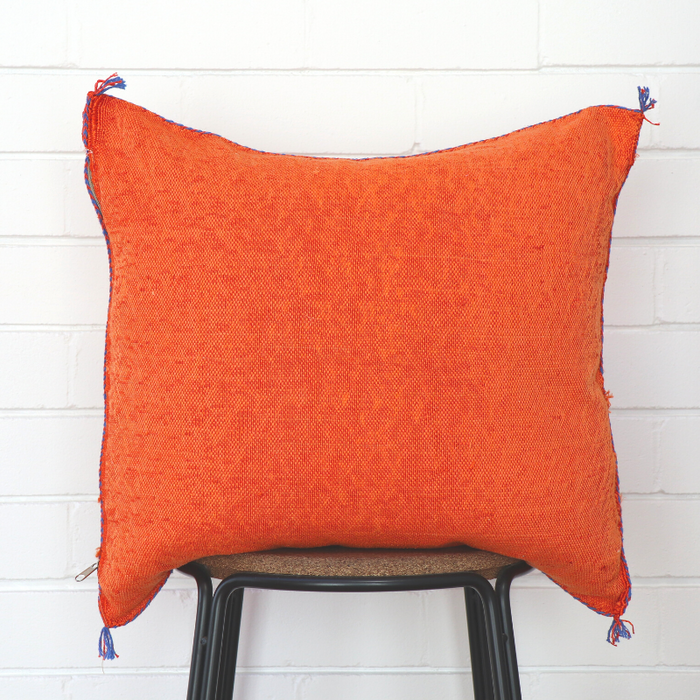 Moroccan Cactus Silk Feather Filled Cushion - Bright Orange With Blue, Black & Green Berber Motifs