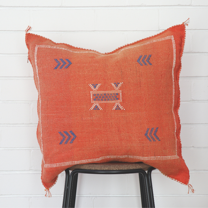Moroccan Cactus Silk Feather Filled Cushion - Light Burnt Melon with Dark Blue Berber Motifs