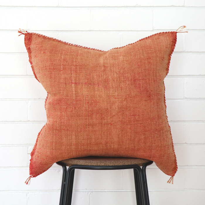 Moroccan Cactus Silk Feather Filled Cushion - Light Terracotta with White Berber Motifs