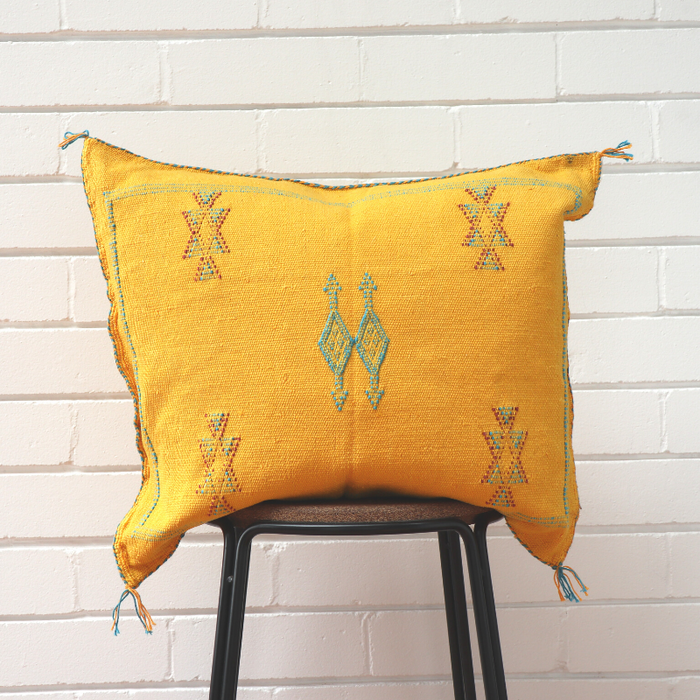 Moroccan Cactus Silk Feather Filled Cushion - Yellow with Blue & Purple