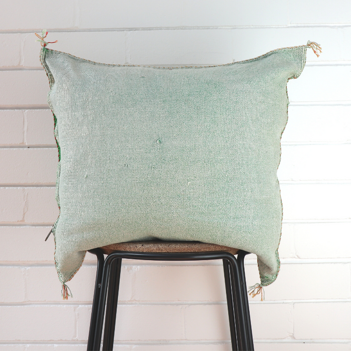 Cactus Silk Feather Filled Cushion - Emerald with Yellow, White and Tan Berber Motifs