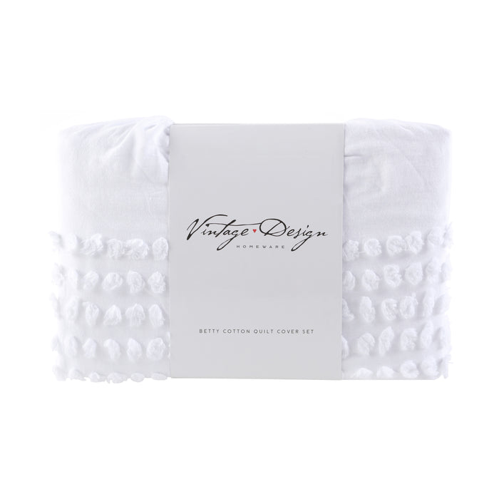 Betty 100% Cotton Quilt Cover Set- White