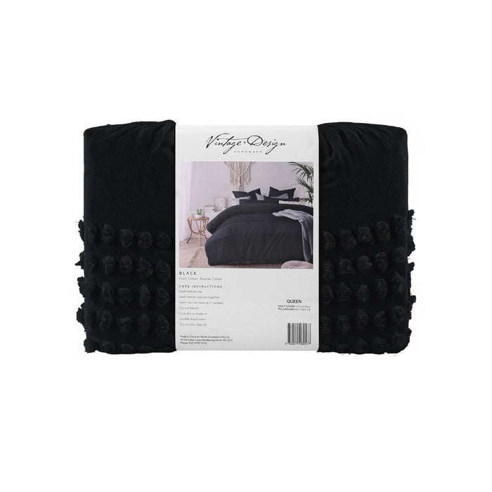 Betty 100% Cotton Quilt Cover Set- Black
