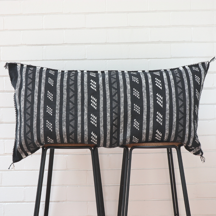 Moroccan Lumbar Cactus Silk Feather Filled Cushion - Black with White Berber Motifs