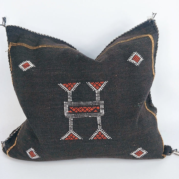 Moroccan Cactus Silk Feather Filled Cushion - Black with Red & White Berber Motif