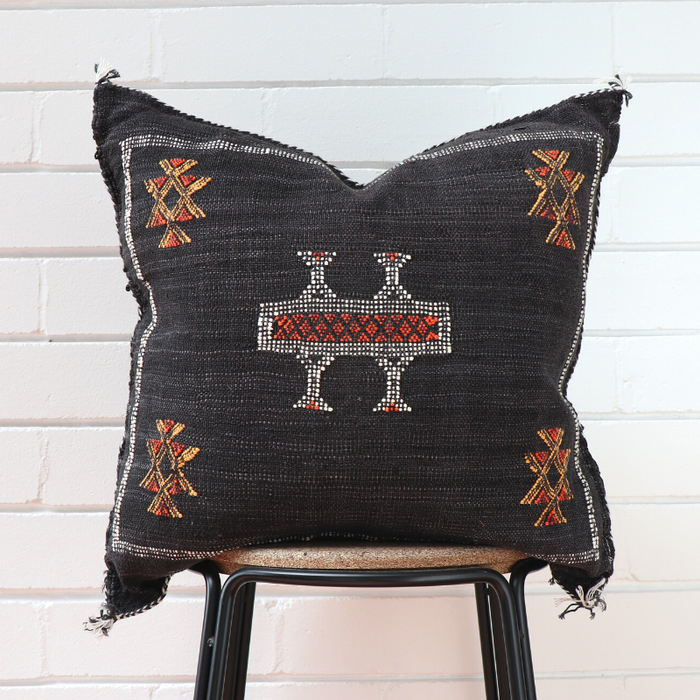 Cactus Silk Feather Filled Cushion - Black with White and Orange Berber Motifs