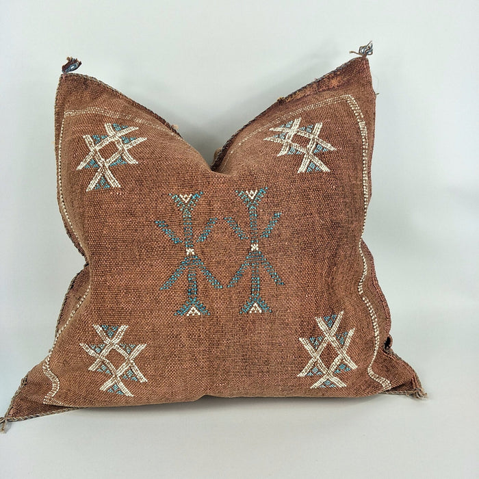 Moroccan Cactus Silk Feather Filled Cushion - Brown Maroon with Blue & White Berber Motif