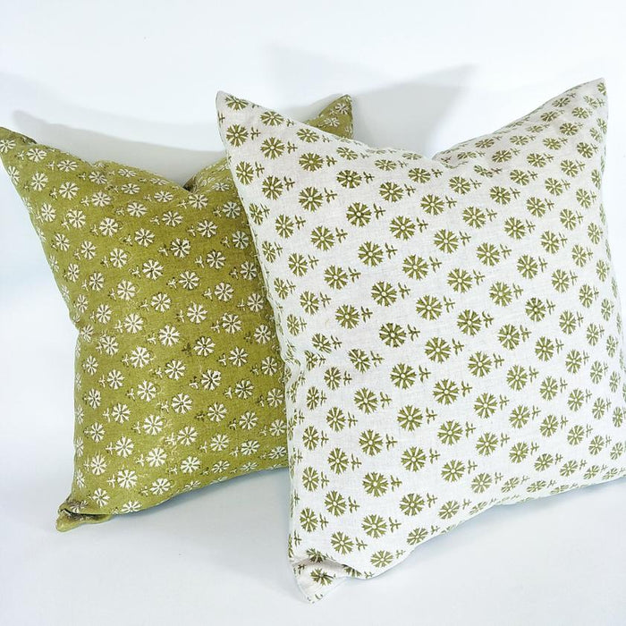 Artisan Hand Block Printed Feather Filled Cushion - Bruges Pista