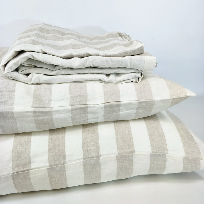 Cara Yarn Dyed Pure Stripe 100% French Linen Quilt Cover Set