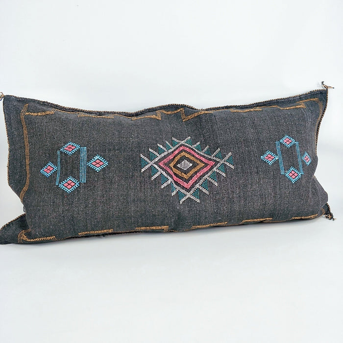 Moroccan Lumbar Cactus Silk Feather Filled Cushion - Black with Pink, Green, Yellow & White Berber Motifs