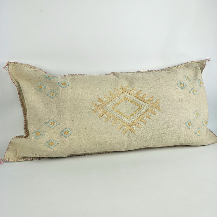 Moroccan Lumbar Cactus Silk Feather Filled Cushion - Light Natural with Aztec White & Yellow Berber Motifs
