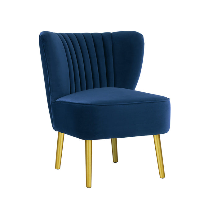 Coco Velvet Slipper Chair With Gold Wooden Legs - French Navy