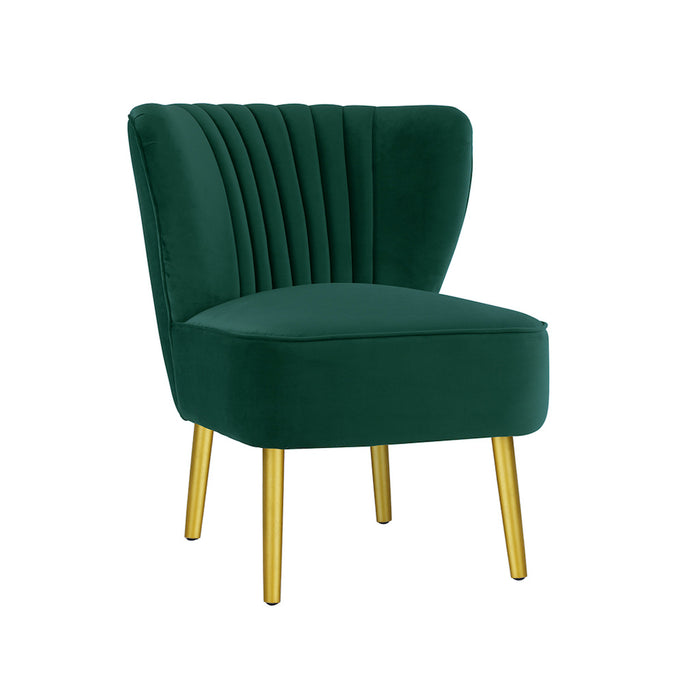 Coco Velvet Slipper Chair With Gold Wooden Legs - Ivy Green