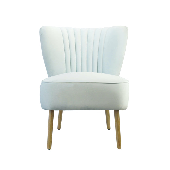 Coco Velvet Slipper Chair With Wooden Legs - Sky Blue