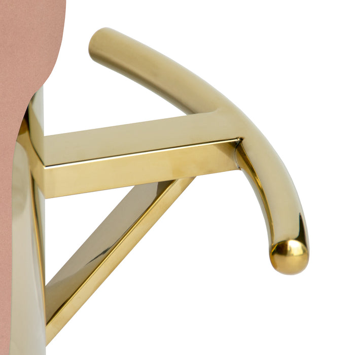 Cosmo Bar Stool With Polished Gold Base - Blush