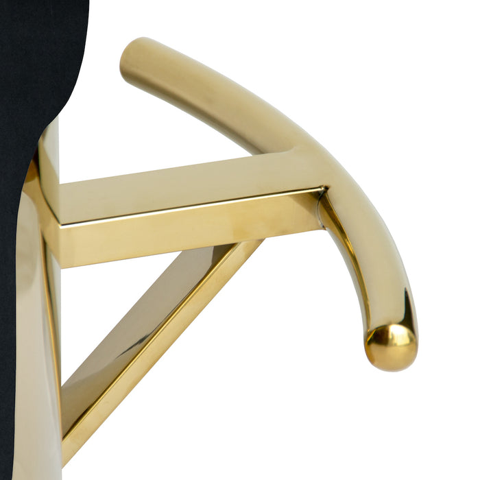 Cosmo Bar Stool With Polished Gold Base - Black