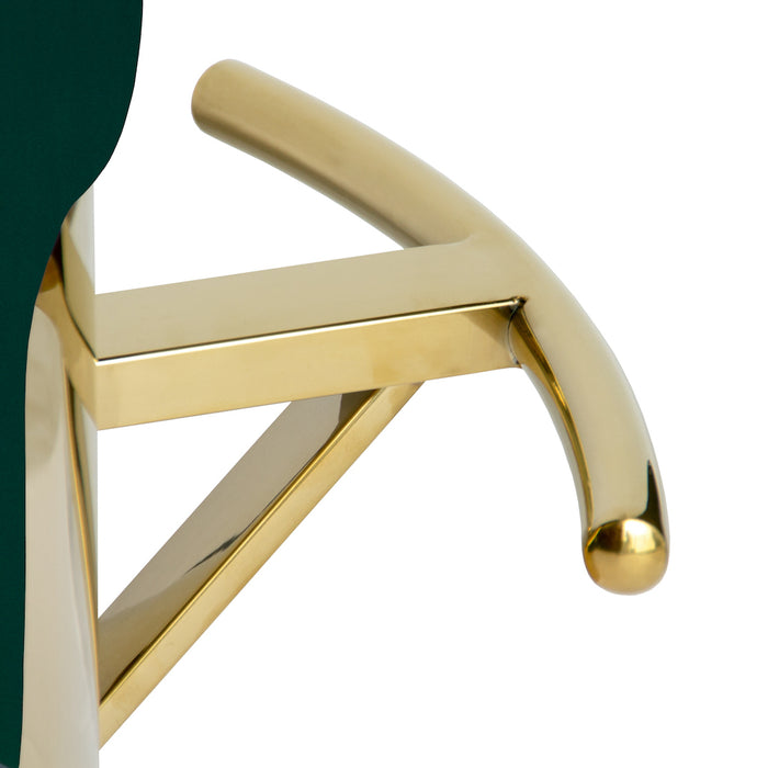 Cosmo Bar Stool With Polished Gold Base - Dark Green
