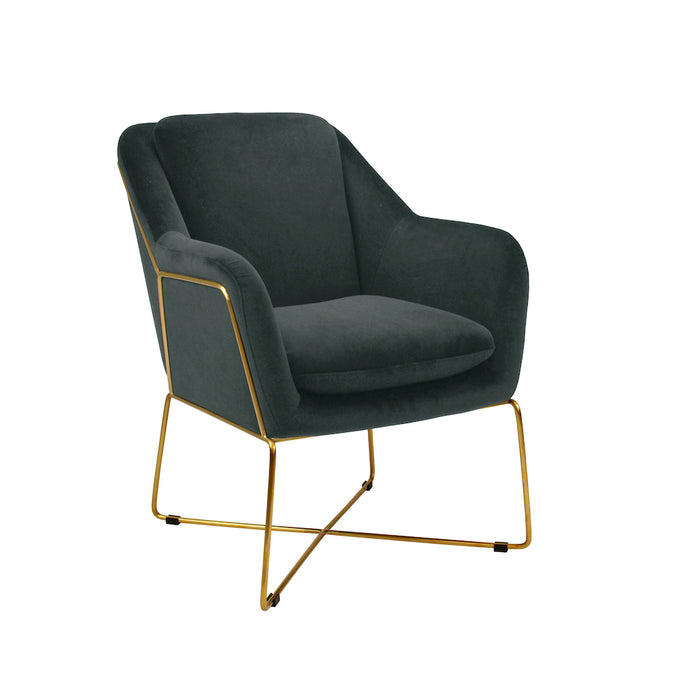 Milan Velvet Armchair - Charcoal With Gold Frame
