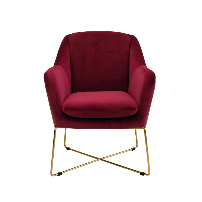 Milan Velvet Armchair - Marsala With Gold Frame