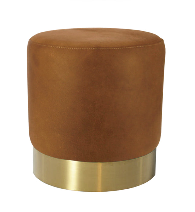 Milan Recycled Leather Ottoman - Cognac With Brushed Gold Base