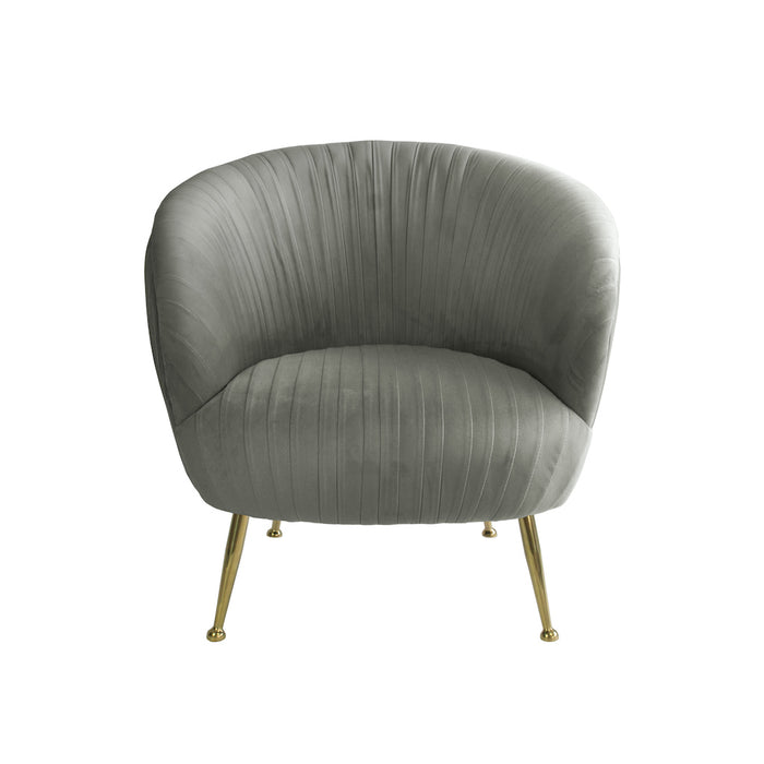 Perugia Velvet Armchair with Gold Metal Legs - Charcoal