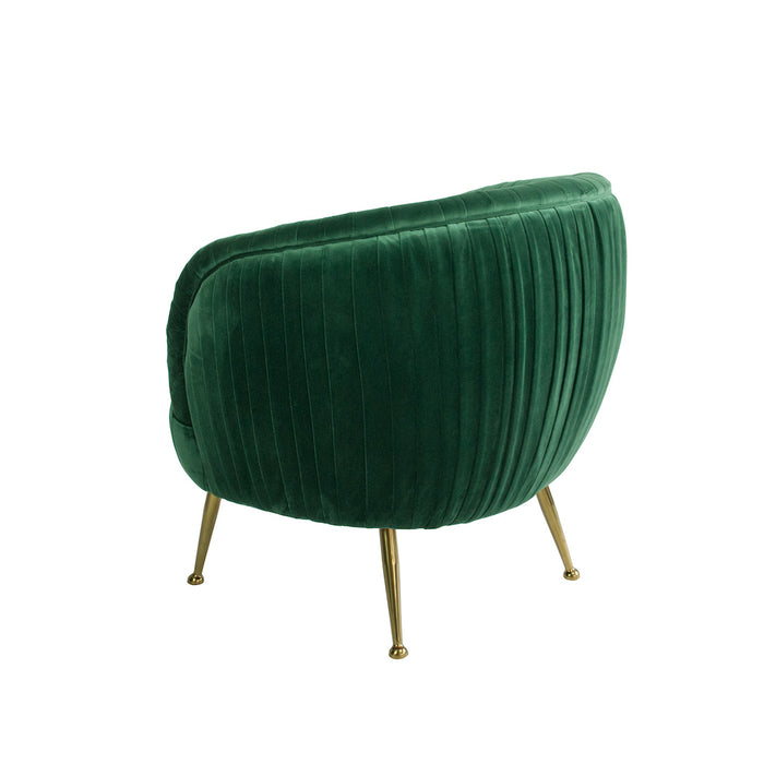 BACK IN STOCK 22/1/21 - Perugia Velvet Armchair with Gold Metal Legs - Green
