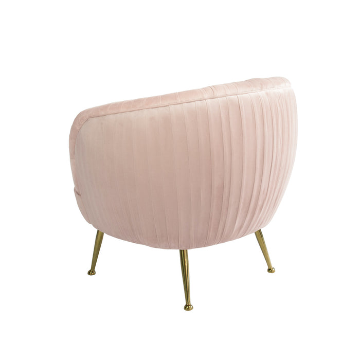 Perugia Velvet Armchair with Gold Metal Leg - Rose Water