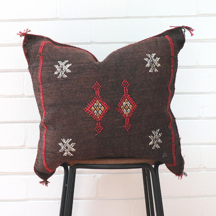 Cactus Silk Feather Filled Cushion - Dark Brown with White, Yellow & Bright Red Berber Motifs