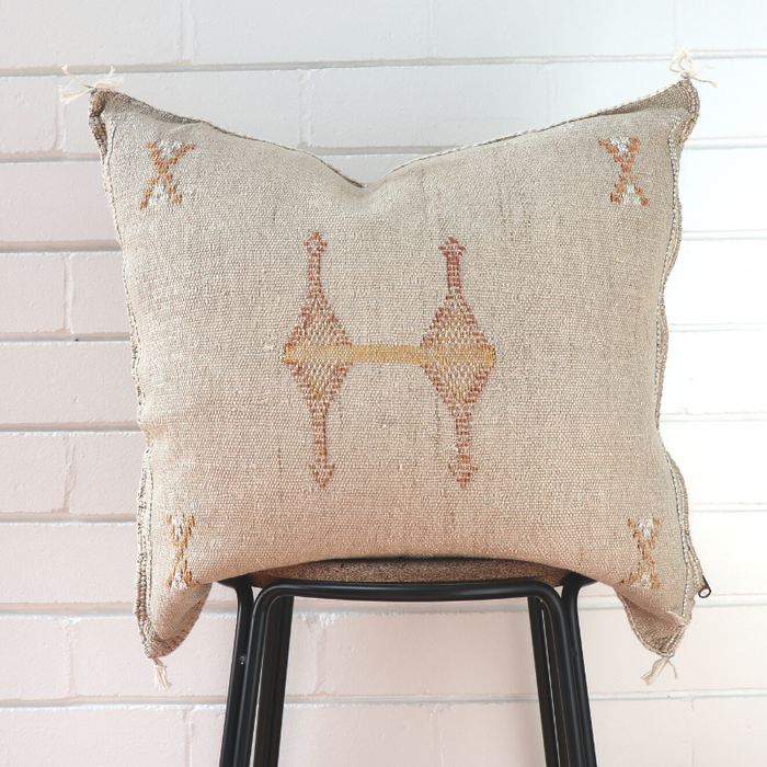 Cactus Silk Feather Filled Cushion - Dark Cream with Tan, Yellow and White Berber Motifs