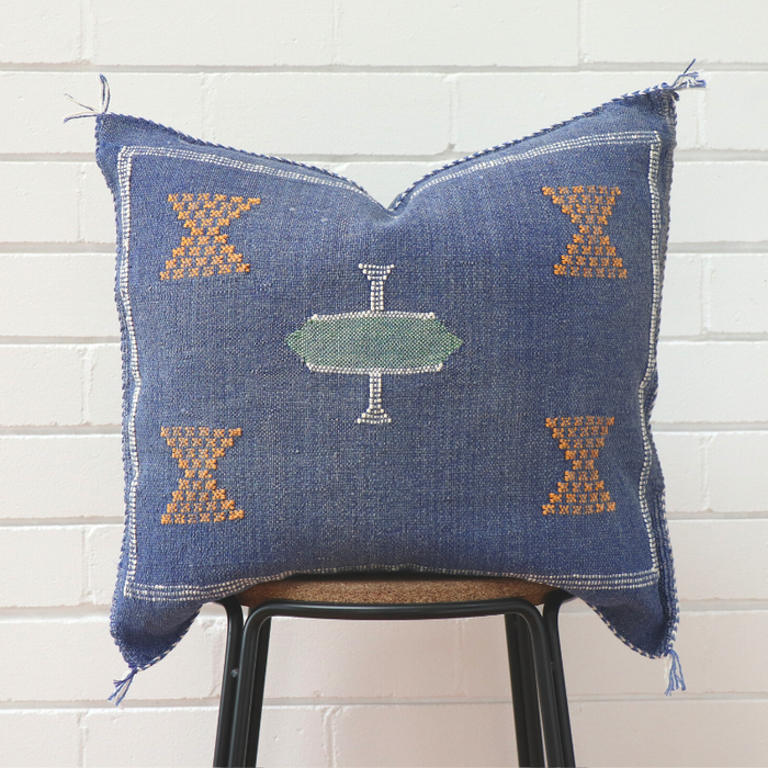 Moroccan Cactus Silk Feather Filled Cushion - Denim with Light Green & White Feature