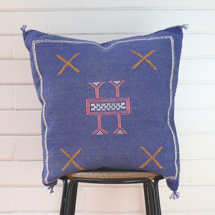 Cactus Silk Feather Filled Cushion - Denim Blue with Pink, White and Orange Berber Motifs