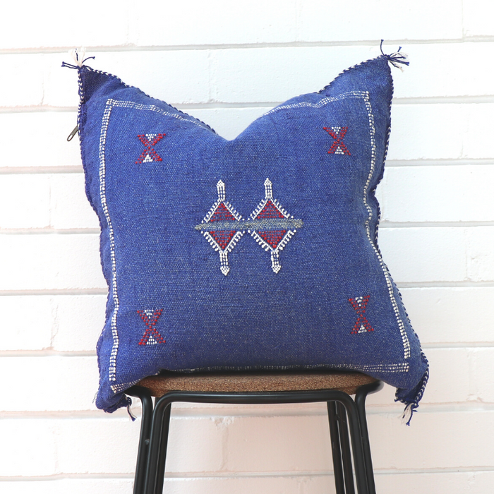 Cactus Silk Feather Filled Cushion - Denim Blue with Red & White Berber Motifs