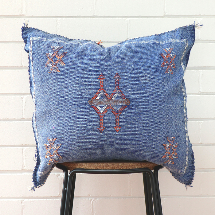 Moroccan Cactus Silk Feather Filled Cushion - Denim With Red & White