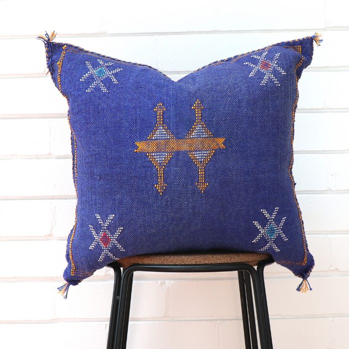 Cactus Silk Feather Filled Cushion - Denim Blue with Yellow, White, Blue and Red Berber Motifs