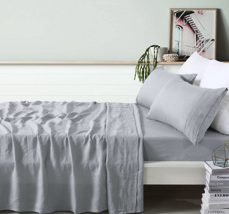 100% French Flax Linen Sheet Set - Dove Grey