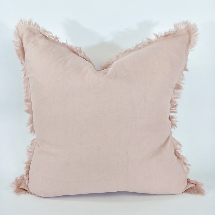 100% French Flax Linen Feather Filled Cushion - Dusty Pink