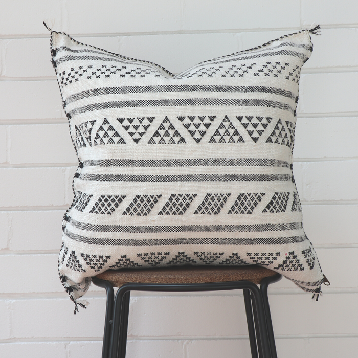Moroccan Cactus Silk Feather Filled Cushion - Black & White