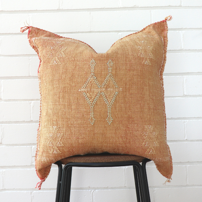 Moroccan Cactus Silk Feather Filled Cushion - Gold with White & Baby Blue Berber Motif