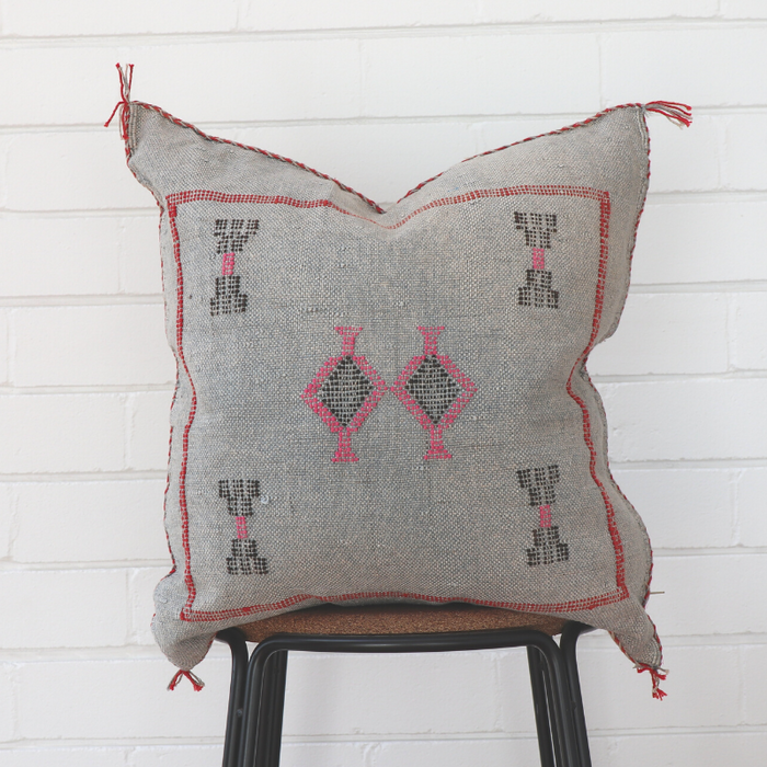 Moroccan Cactus Silk Feather Filled Cushion - Grey with Bright Pink, Dark Brown Berber Motif
