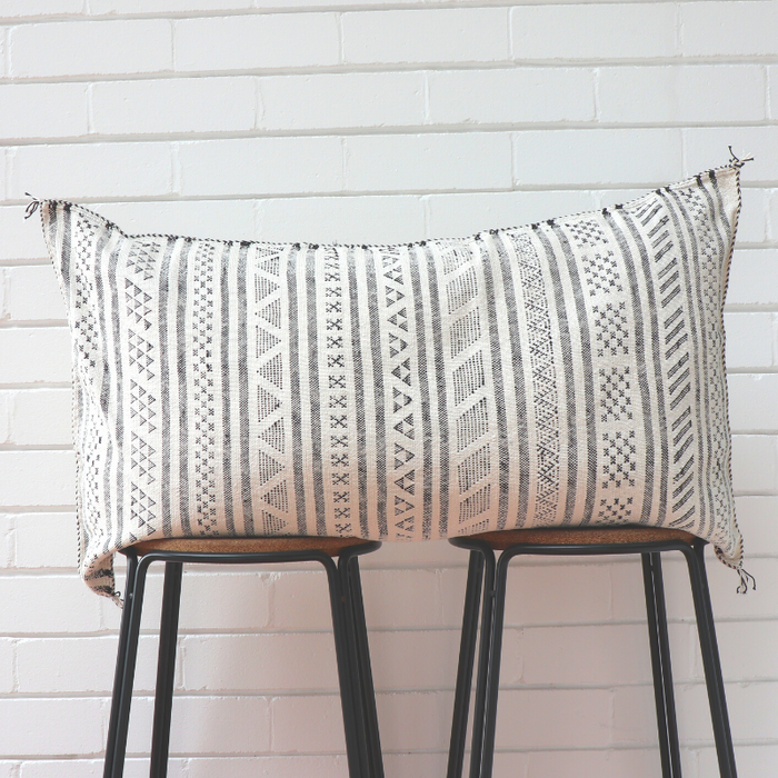 Moroccan Lumbar Cactus Silk Feather Filled Cushion - Black & White